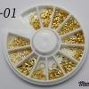 LO-01 โลหะ และหมุดทรงต่างๆ สีทอง กล่องกลม 1กล่อง มี12 แบบ