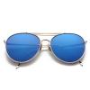แว่นตา ฮาราจูกุ (Harajuku) เลนส์ปรอท สีน้ำเงิน กรอบสีิเงิน (UV400)
