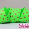 ริบบิ้นผ้า กรอสเกรน สีเขียว พิมพ์ลายจุด