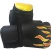 นวมชกมวย นวมมวย สีดำ ลายเปลวไฟเหลืองแดง (14 ออนซ์)