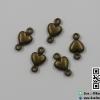 จี้โลหะ สีทองรมดำ หัวใจห่วงคู่ (เล็ก) ขนาด 10 * 5 มิล