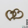จี้โลหะ,ตัวห้อยซิป สีทองรมดำ รูปหัวใจคู่ ขนาด 32.2 x 22 MM