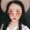 แว่นตา รูปหัวใจ ฮาราจูกุ (Harajuku) สีชมพู ไล่โทนสี กรอบสีเงิน (UV400)