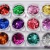 กากเพชรทรงกลม 3มิล เรเซอร์ลายเส้น 12สี 12กระปุก กลิตเตอร์ 3D