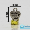 จี้ตัวห้อยซิป สีเงิน รูปหัวใจ Made with love