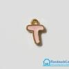 """จี้ ตัวอักษร เคลือบสีชมพู รูป ตัว """"T"""""""