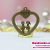 จี้โลหะ สีทองรมดำ รูปหัวใจคู่รัก