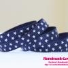 ริบบิ้นผ้ากรอสเกรน สีน้ำเงิน พิมพ์ลายดาว