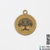 จี้โลหะ,ตัวห้อยซิป สีทองรมดำ รูปเหรียญต้นไม้