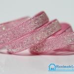 ริบบิ้นผ้า กากเพรช สีชมพู ขนาด 10 มิล