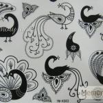 YM-K083 สติ๊กเกอร์สักแฟชั่น sticker tattoo ลายนกยุง โบ15.5x10.8 cm