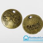 จี้โลหะ สีทองรมดำ ราศีเมถุน (Gemini Zodiac)