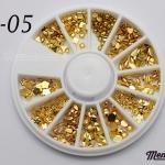 LO-05 โลหะ และหมุดทรงต่างๆ สีทอง กล่องกลม 1กล่อง มี12 แบบ