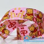 ริบบิ้นผ้า พิมพิ์ลายการ์ตูนหมีพูล / Pooh ขนาด 22 มิล
