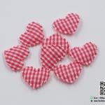 หัวใจตกแต่งสีชมพู ลายสก็อต ขนาด 2.2 CM. (แพ็ค 15 ชิ้น)