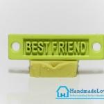 จี้โลหะ สีเหลืองพาสเทล ป้าย BEST FRIEND