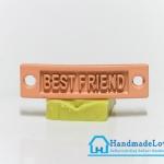 จี้โลหะ สีส้มพาสเทล ป้าย BEST FRIEND
