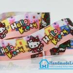 ริบบิ้นผ้า พิมพิ์ลาย การ์ตูน Hello Kitty ขนาด 22 มิล