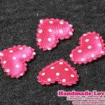 หัวใจตกแต่งสีชมพูลายจุด ขนาด 2.2 CM. (แพ็ค 15 ชิ้น)