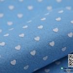 ผ้าสักหลาด พิมพ์ลายหัวใจ สีฟ้า
