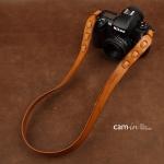 สายคล้องกล้อง cam-in หนังแท้ Splendid Genuine Leather สีน้ำตาลอ่อน