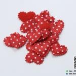 หัวใจตกแต่งสีแดงลายจุด ขนาด 2.2 CM. (แพ็ค 15 ชิ้น)