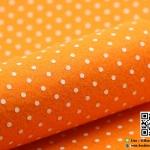 ผ้าสักหลาด พิมพ์ลายจุดเล็ก สีส้ม