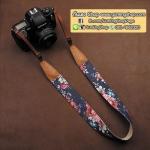 สายคล้องกล้องลายดอกไม้ cam-in Flower Blue Tone