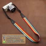 สายคล้องกล้องสีสันโดนใจ cam-in Over the Rainbow ปลายน้ำตาล 32 mm
