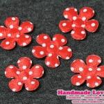 ดอกไม้ตกแต่งสีแดง ลายจุด ขนาด 20 มม (แพ็ค 15 ชิ้น)