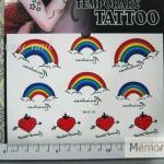 YM-K119 สติ๊กเกอร์สักแฟชั่น sticker tattoo ลายสายรุ้ง 15.5x10.8 cm