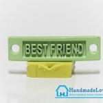 จี้โลหะ สีเขียวพาสเทล ป้าย BEST FRIEND