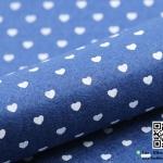 ผ้าสักหลาด พิมพ์ลายหัวใจ สีน้ำเงินเข้ม