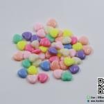 ลูกปัดกลม สีพาสเทล รูปหัวใจ (แพ็ค 50 ชิ้น)(คละสี)