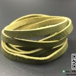 เชือกหนังชามุด ผิวมัน สีเขียวขี้ม้า ขนาด 5 mm.