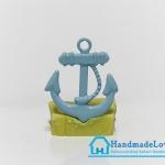 จี้โลหะ สีฟ้าพาสเทล รูปสมอเรือ