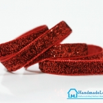 ริบบิ้นผ้ากากเพรช สีแดง ขนาด 10 มิล