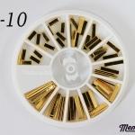 LO-10 โลหะ ตกแต่งเล็บ ทรงผืนผ้า สีทอง กล่องกลม 1กล่อง มี 4 แบบ