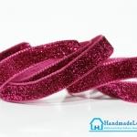 ริบบิ้นผ้ากากเพรช สีชมพูเข้ม ขนาด 10 มิล