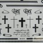 YM-K075 สติ๊กเกอร์สักแฟชั่น sticker tattoo ลายซิบ ไม้กางเขน 15.5x10.8 cm