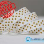 [แพ็ค 5 หลา] ริบบิ้นผ้าสีขาว พิมพ์ลายจุดสีเหลือง ขนาด กว้าง 10 mm,