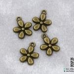จี้,ตัวห้อยซิป รูปดอกไม้ สีทองรมดำ