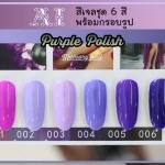 สีเจล AI ชุด Purple Polish มี 6ขวด โทนสีม่วง พร้อมแถมกรอบรูปในชุด