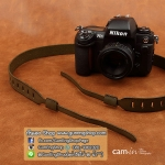 สายคล้องกล้อง cam-in หนังแท้ Splendid Genuine Leather สีเขียวโอลีฟ