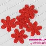 ดอกไม้ตกแต่งสีแดง ขนาด 15 มม. (แพ็ค 15 ชิ้น)