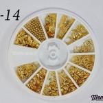 LO-14 โลหะ และหมุดทรงต่างๆ สีทอง กล่องกลม 1กล่อง มี12 แบบ