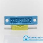 จี้โลหะ สีฟ้าพาสเทล ป้าย BEST FRIEND