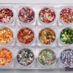 กากเพชรรูปดาว อย่างดี คละหลายสีในกระปุกเดียว 12แบบสี 12กระปุก