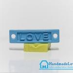 จี้โลหะ สีฟ้าพาสเทล ป้าย Love
