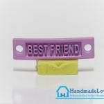 จี้โลหะ สีม่วงพาสเทล ป้าย BEST FRIEND